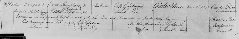 Marriage Registration of George Gladman and Sarah Hay