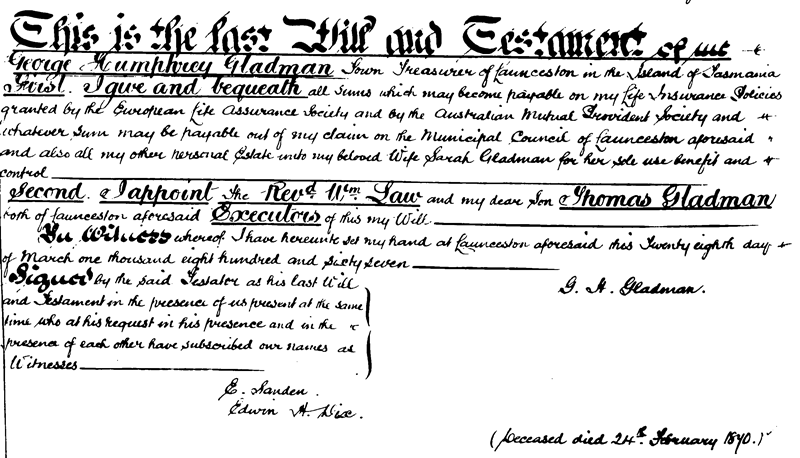 Last Will and Testament of George Humphrey Gladman