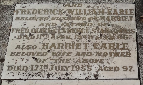 Headstone of Frederick and Harriet Earle
