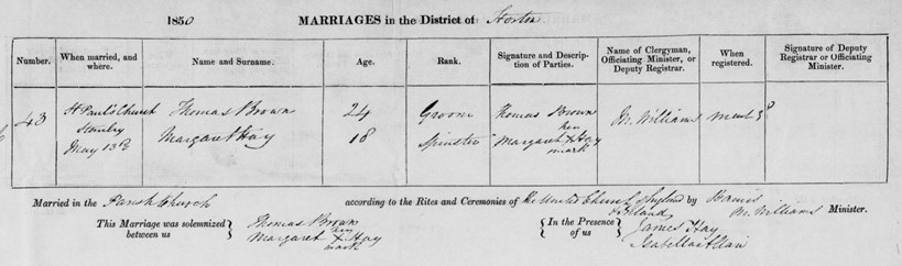 Marriage Registration of Thomas Brown and Margaret Hay