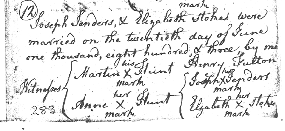 Marriage Registration of Joseph Genders and Elizabeth Stokes