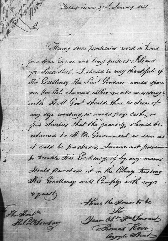 Letter from Thomas Kerr to Colonial Secretary